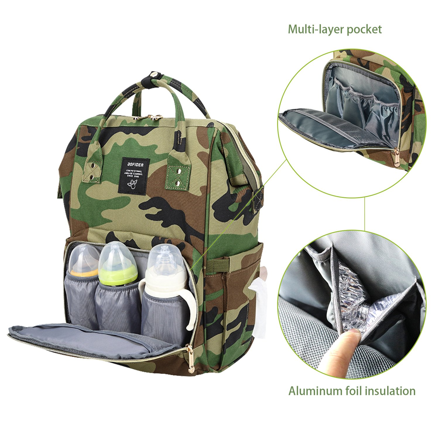 CutePaw Multi-Function Baby Diaper Bag Backpack Waterproof Camouflage//Solid Nappy Bag Large Capacity Travel Backpack