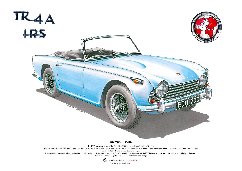 Art Cartel de Triumph TR4A IRS, tamaño A3 George Morgan Illustration