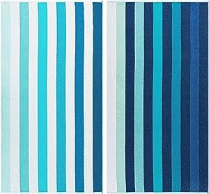 SUPERIOR Atlantis Egyptian Cotton Oversized Beach Towel Set, Ombre Stripes, Blue, 2-Pieces