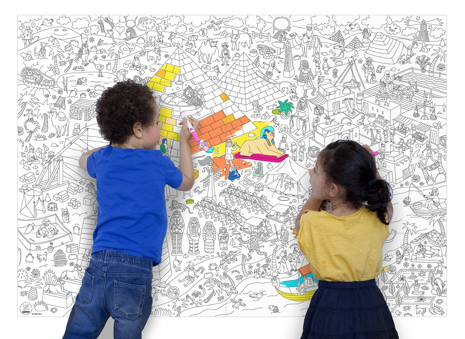 OMY Pyramid Giant Colouring Poster, Paper, Multi-Colour, Medium ...