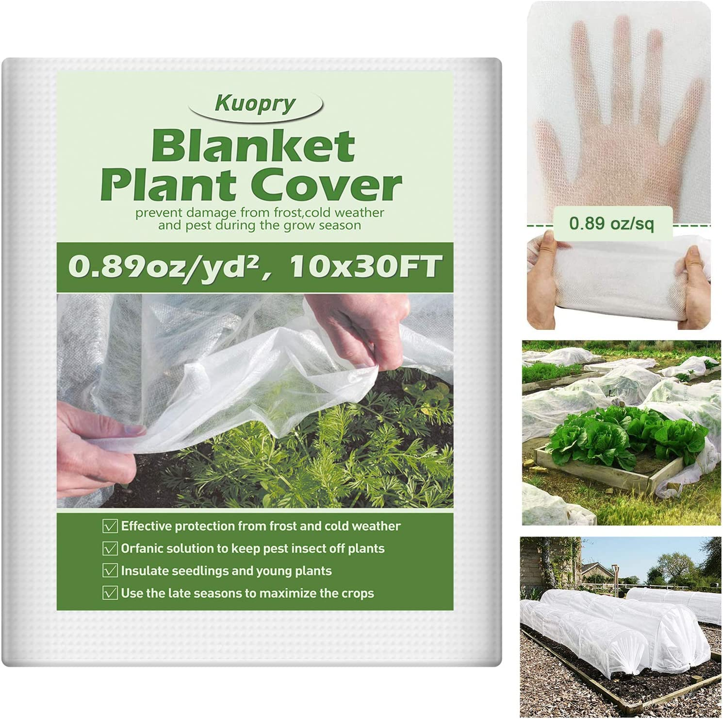 Kuopry Plant Covers Freeze Protection, 10Ft x 30Ft Reusable Floating Row Cover, 0.89 oz/sq Freeze Protection Plant Blankets for Cold Weather, Garden Winterize Cover for Winter Frost Protection