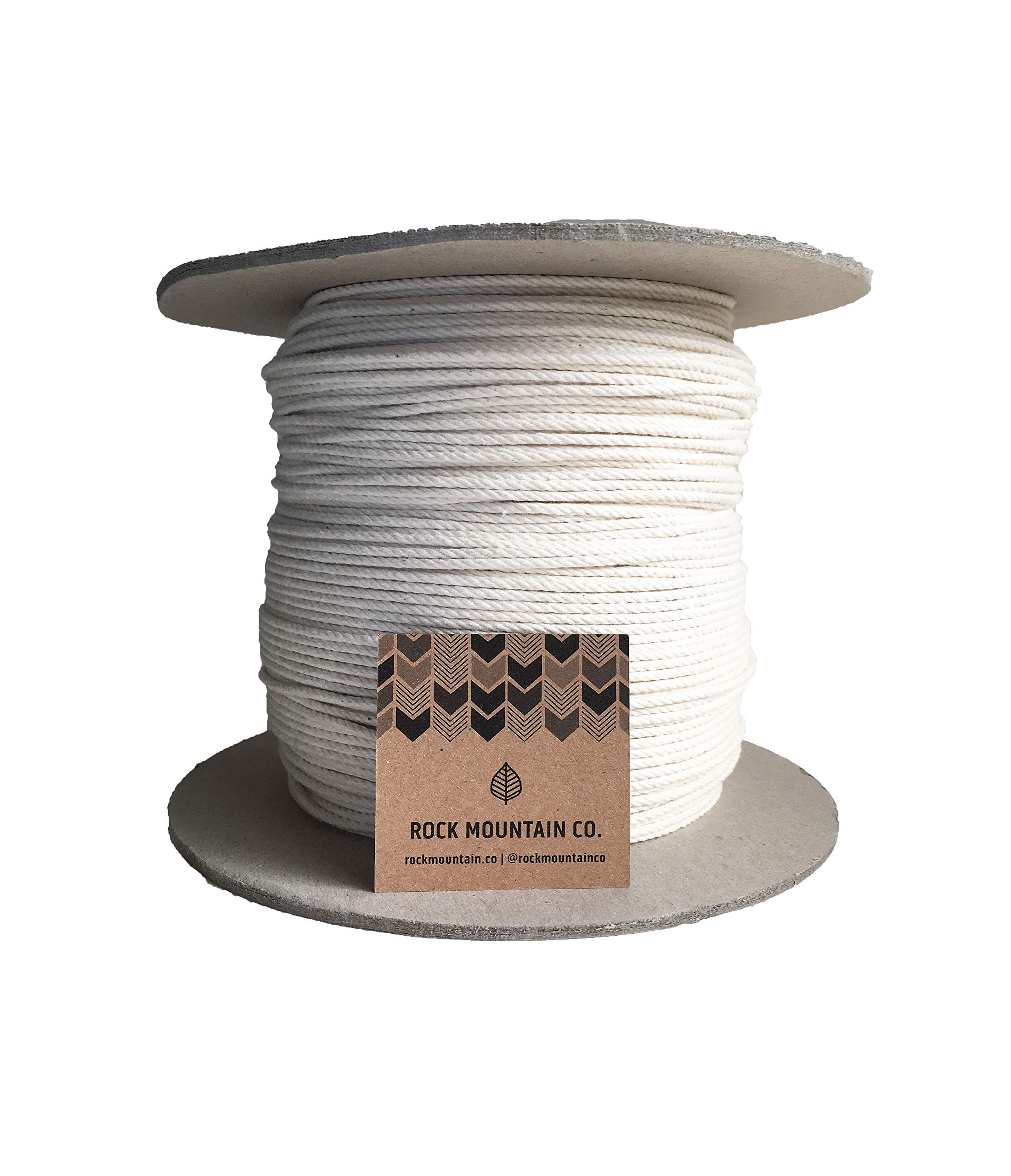 3mm 4 Strand Macrame Cord / 1200 ft Large Bulk Spool / 100% Cotton Rope/Fiber Art/Soft 1/8'' Twisted