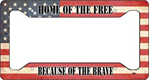 Rogue River Tactical Home of The Free USA Flag License Plate Frame Military Veteran Tag Vanity Gift American Patriotic US