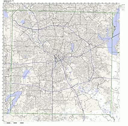 Amazon Com Dallas County Texas Tx Zip Code Map Not Laminated Home