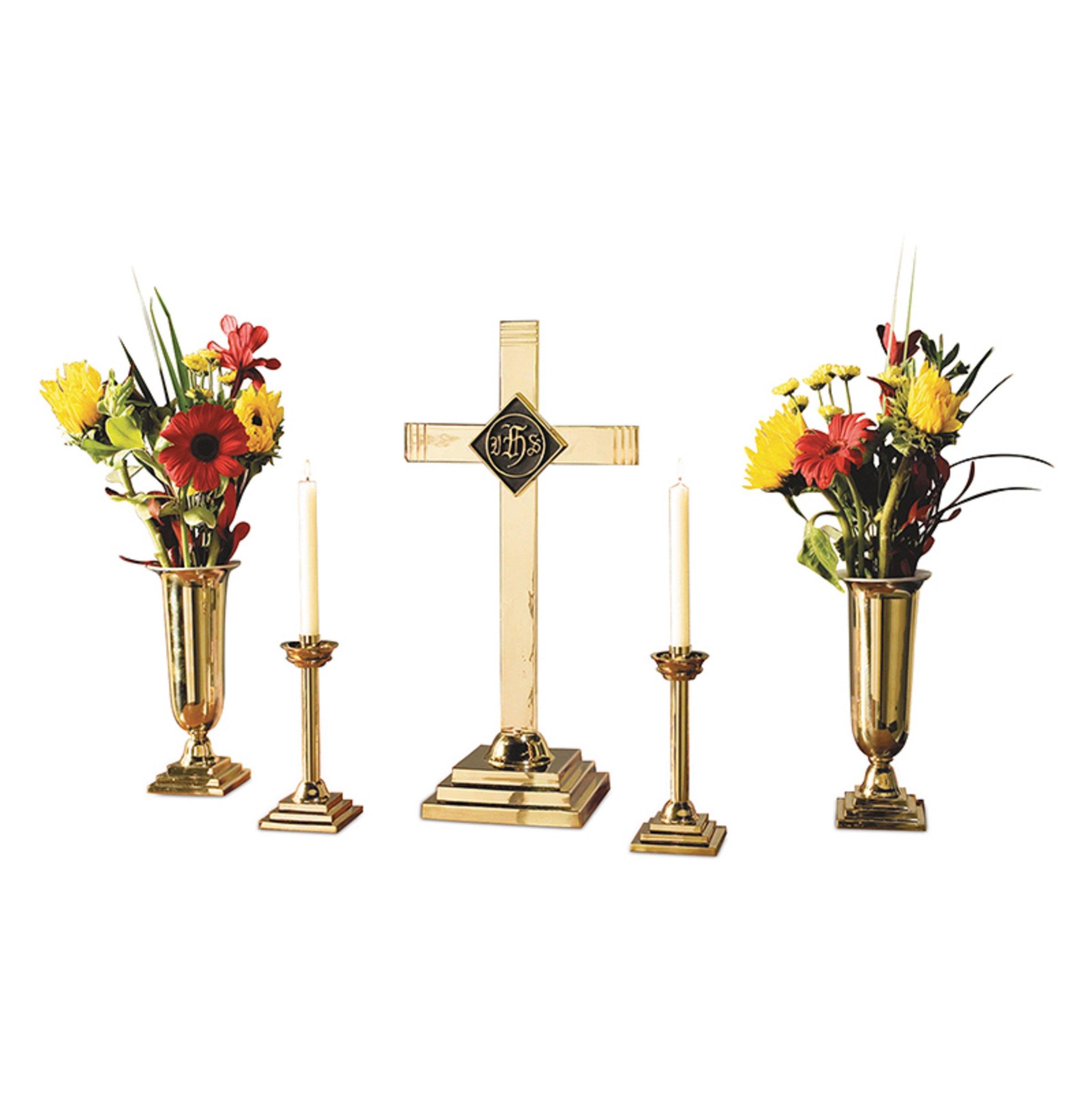 Christian Brands Church Supply LC915 5 Piece Brass Altar Candle Set