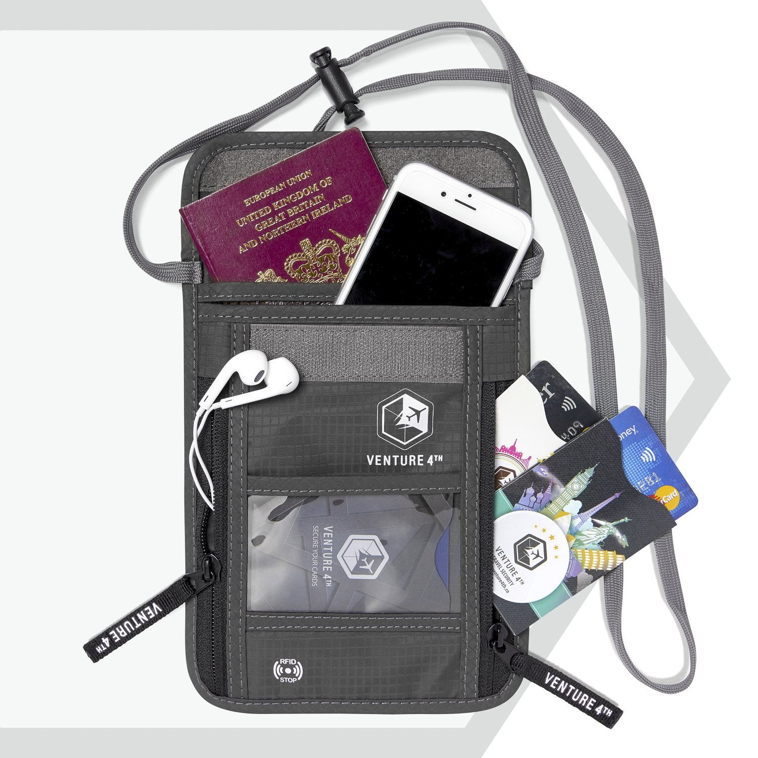 Venture 4th Travel Neck Pouch With RFID Blocking - Travel Wallet Passport Holder (Grey) by VENTURE 4TH (Image #2)
