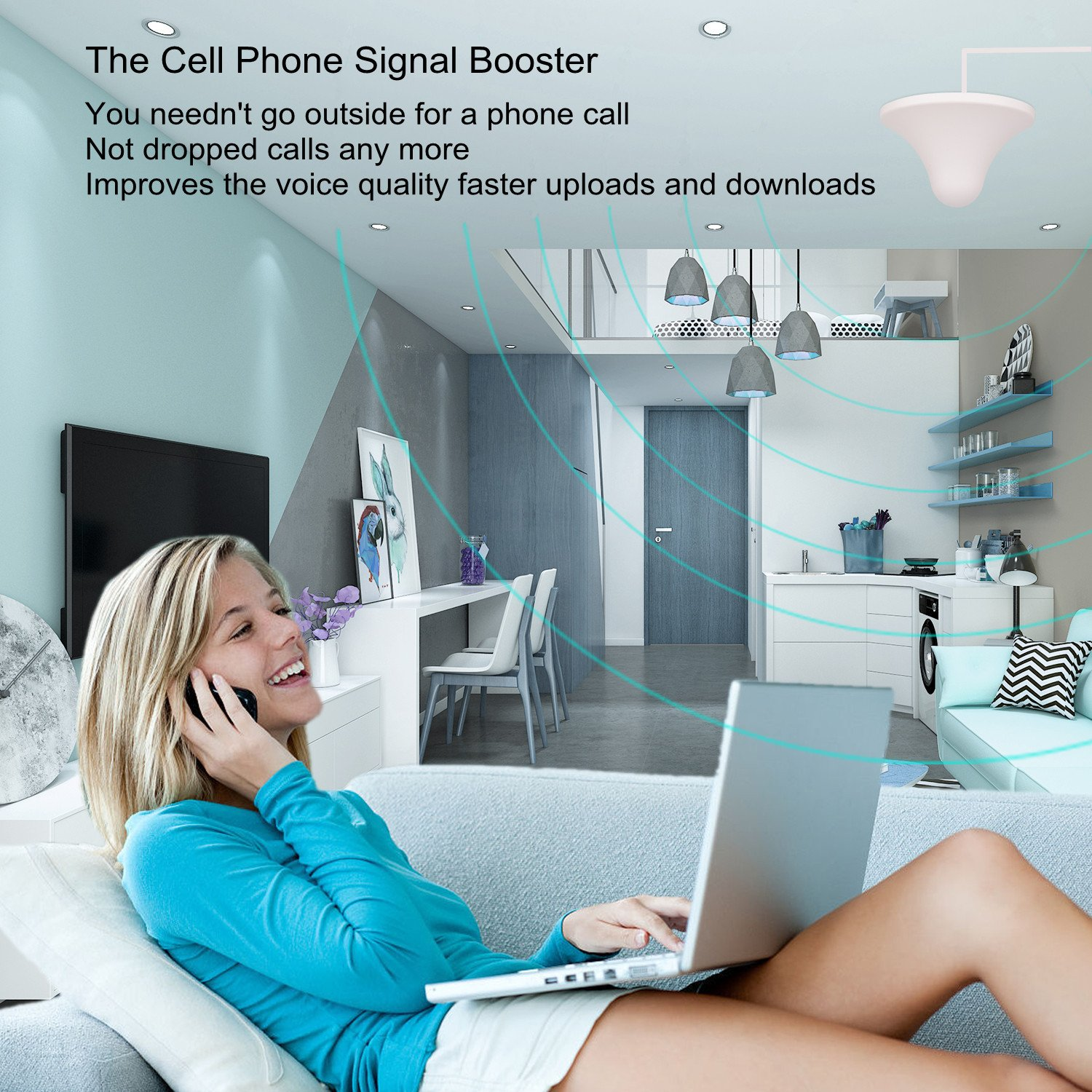 Phonelex Cell Phone Signal Booster AT&T T-Mobile 4G LTE Band12/17 700Mhz 70dB Cell Phone Signal Amplifier Mobile Signal Booster Repeater with Indoor Ceiling / Outdoor YaGi Directional Antenna For Home by phonelex (Image #4)