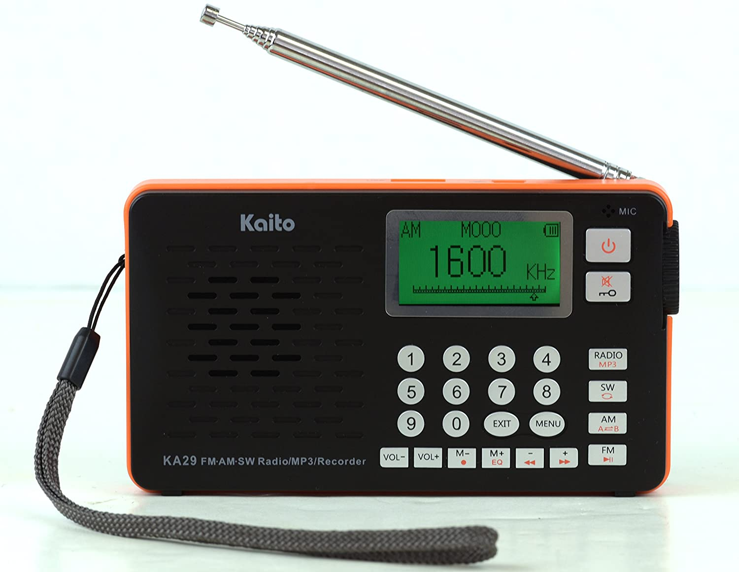 AM FM SW Radio and MP3 Player black with Recorder Kaito KA29 All in one world Receiver