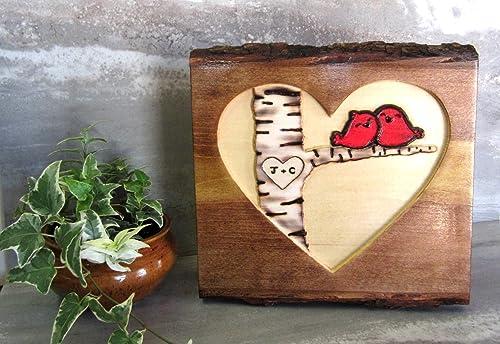 Amazon Com Rustic Anniversary Gift Love Birds Personalized 5 Year Anniversary Gift Couples Initials Natural Live Edge Tree Bark Sign Handmade