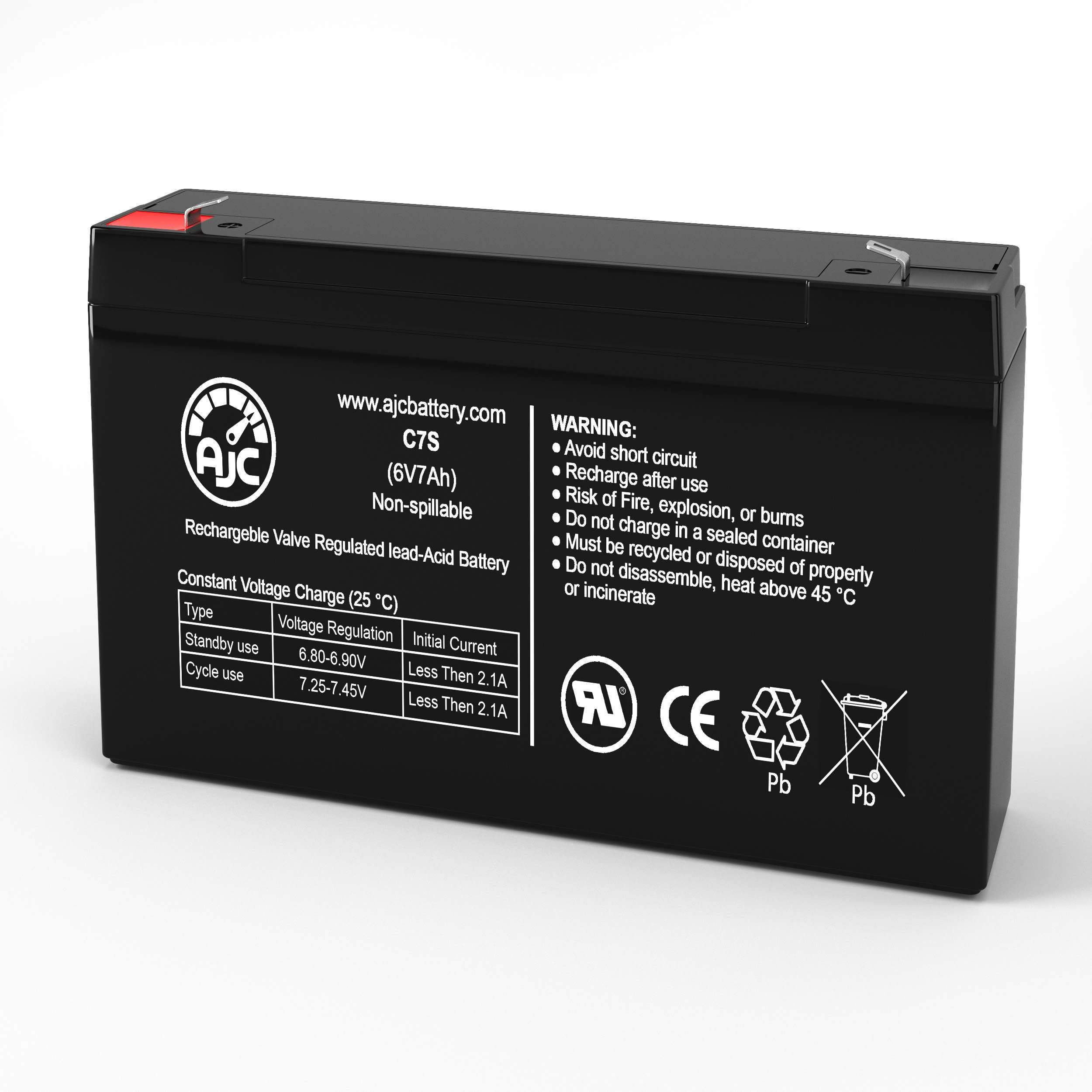 Long Way LW-3FM7 6V 7Ah Sealed Lead Acid Battery - This is an AJC Brand Replacement