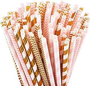 ALINK Biodegradable Paper Straws, 100 Pink Straws / Gold Straws for Party Supplies, Birthday, Wedding, Bridal / Baby Shower Decorations and Holiday Celebrations