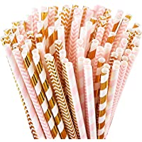 ALINK Biodegradable Paper Straws, 100 Pink Straws/Gold Straws for Party Supplies, Birthday, Wedding, Bridal/Baby Shower…