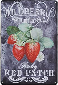 SIGNSHM Designs Strawberries Pick Your Own Bar Country Home Dec Retro Metal Tin Sign Plaque Poster Wall Decor Art Shabby Chic Gift Suitable for Indoor/Outdoor 12x8 Inch
