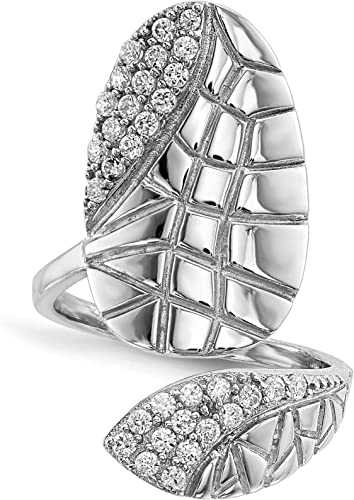 Adjustable Sterling-Silver Rhodium Plated Nail Ring