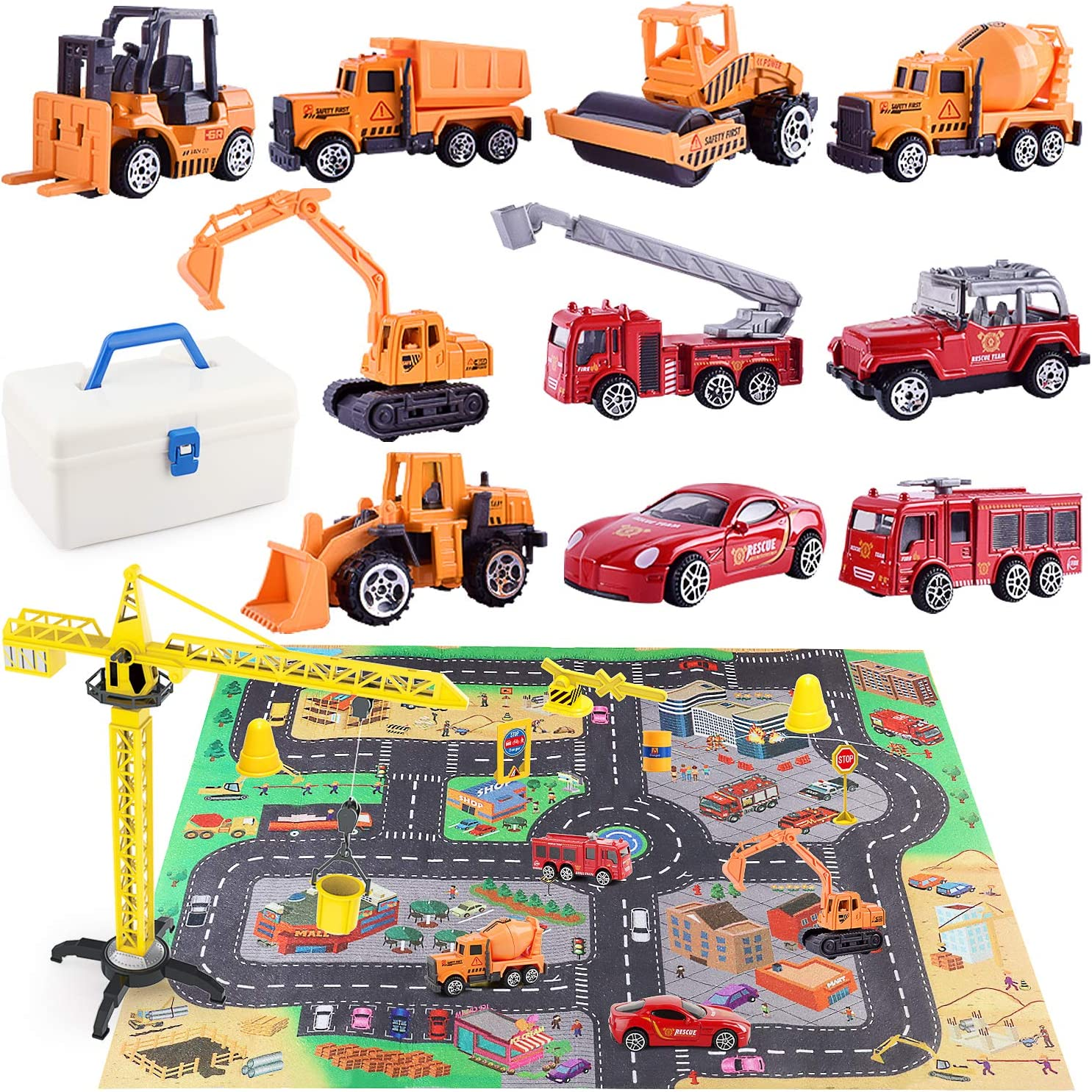 HONYAT Engineering Construction Vehicles Toys Set with Play Mat and Car Storage Box ,10 Alloy Cars Include Fire Trucks -with Accessories and Tower Crane ,Gift for Boys and Girls Ages 3-12.: Toys & Games