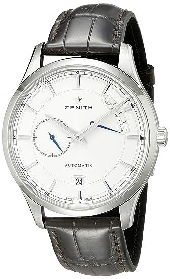 Zenith hombre 032122685.01 C Capitán Elite reloj de acero inoxidable con banda de cuero marrón: Amazon.es: Relojes