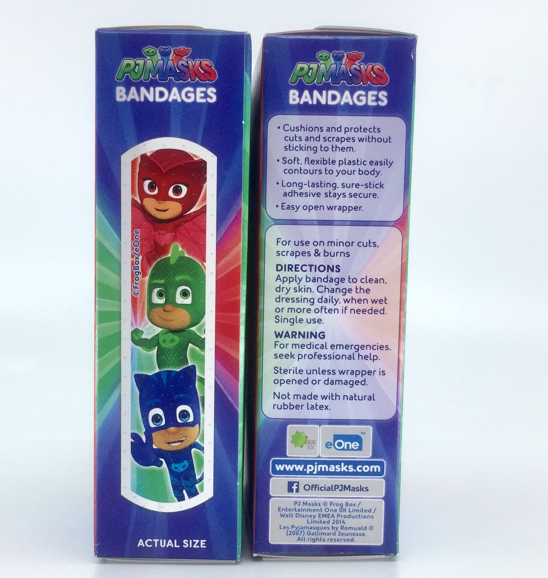 PJMASKS Latex Free Adhesive Anti- Bacterial Bandages Bandaids 3 Pack of Variety Comics Designs 20 per Box - 60 Bandages Total Plus a Bonus Free Collection of Fun Kids Jokes by Zee (3+ Items)