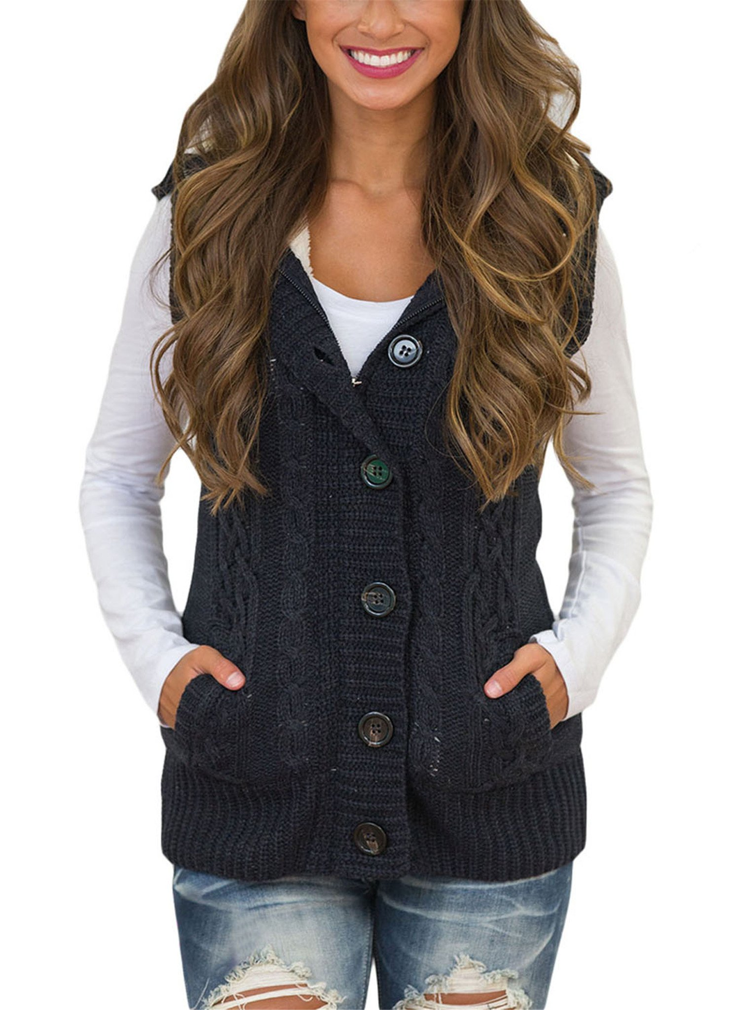 Blibea Womens Autumn Winter Sleeveless Hooded Sweater Vest Button Down Cable Knitted Cardigan Coats Outerwear Large Black by Blibea