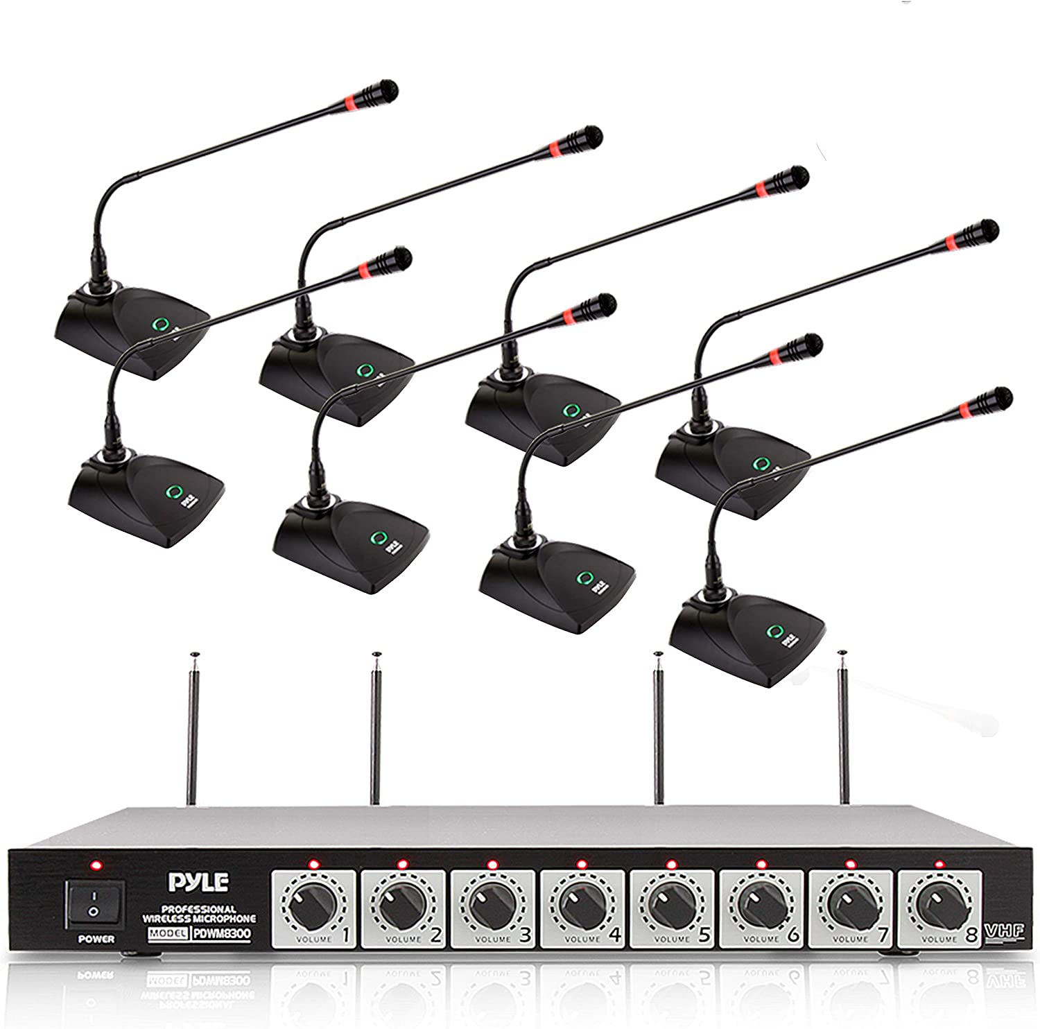 8 Channel Conference Microphone System - UHF Desktop, Table Meeting Wireless Microphones & Receiver w/ 8 Gooseneck Mics, Rack Mountable & LED Audio Signal Indicator Lights - Pyle PDWM8880
