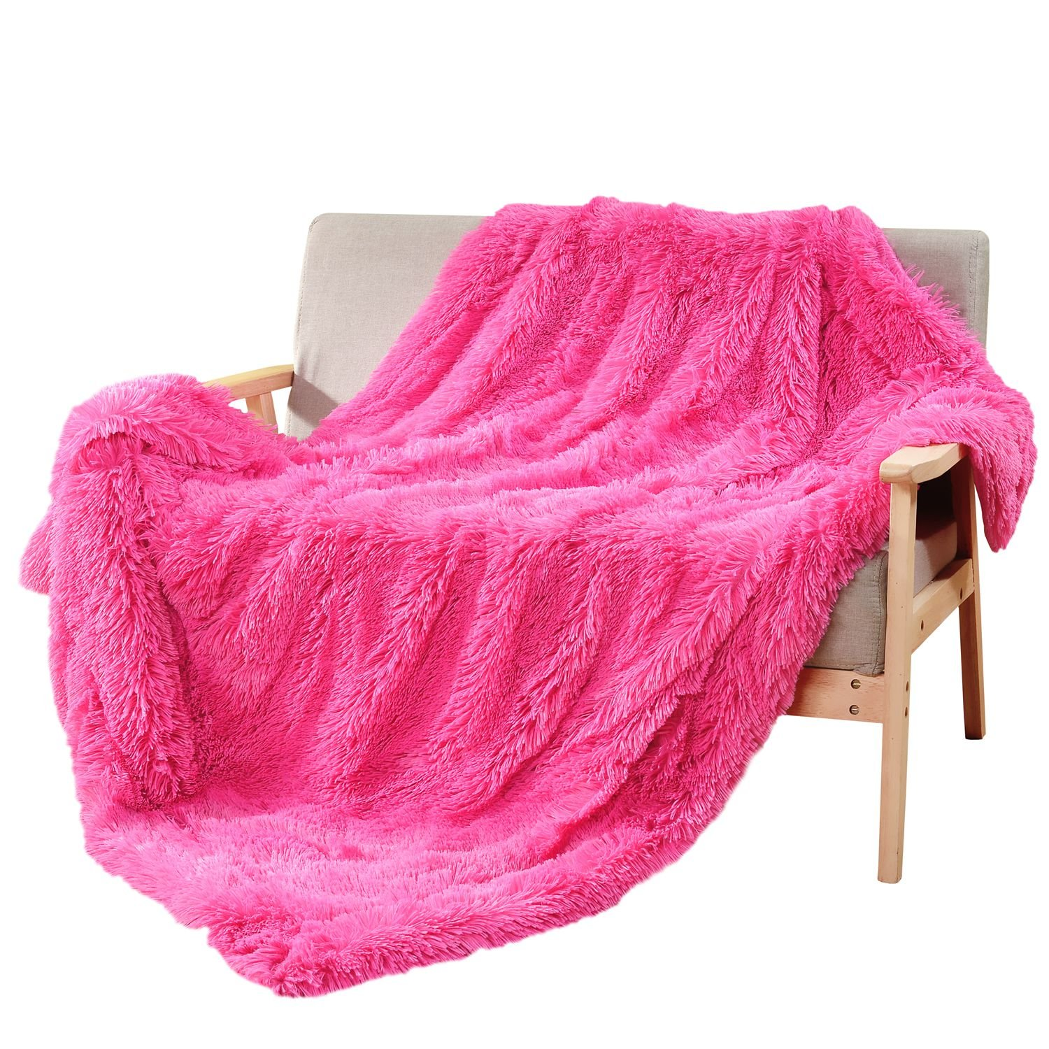 DECOSY Super Soft Faux Fur Throw Blanket Hot Pink 50''x 60'' - Decorative Warm Cozy Reversible Fleece Flannel TV Blanket for Sofa Couch Chair Bed - All Season Quilt Comforter - Christmas Gift