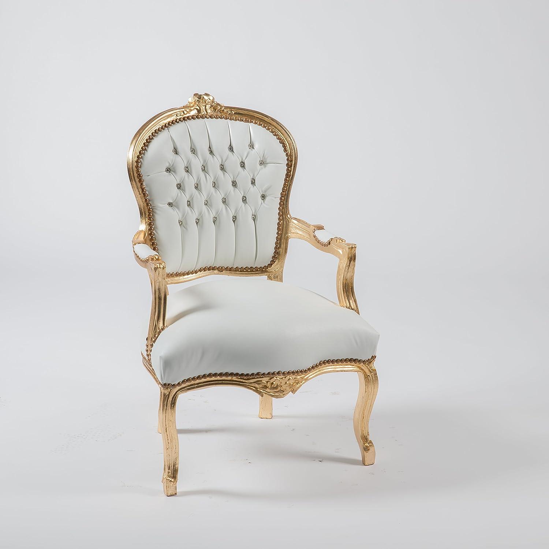 Way Home Store - Sillón barroco Luis estilo francés Luigi XVI dorado y piel sintética blanca 63 x 65 x 94 cm