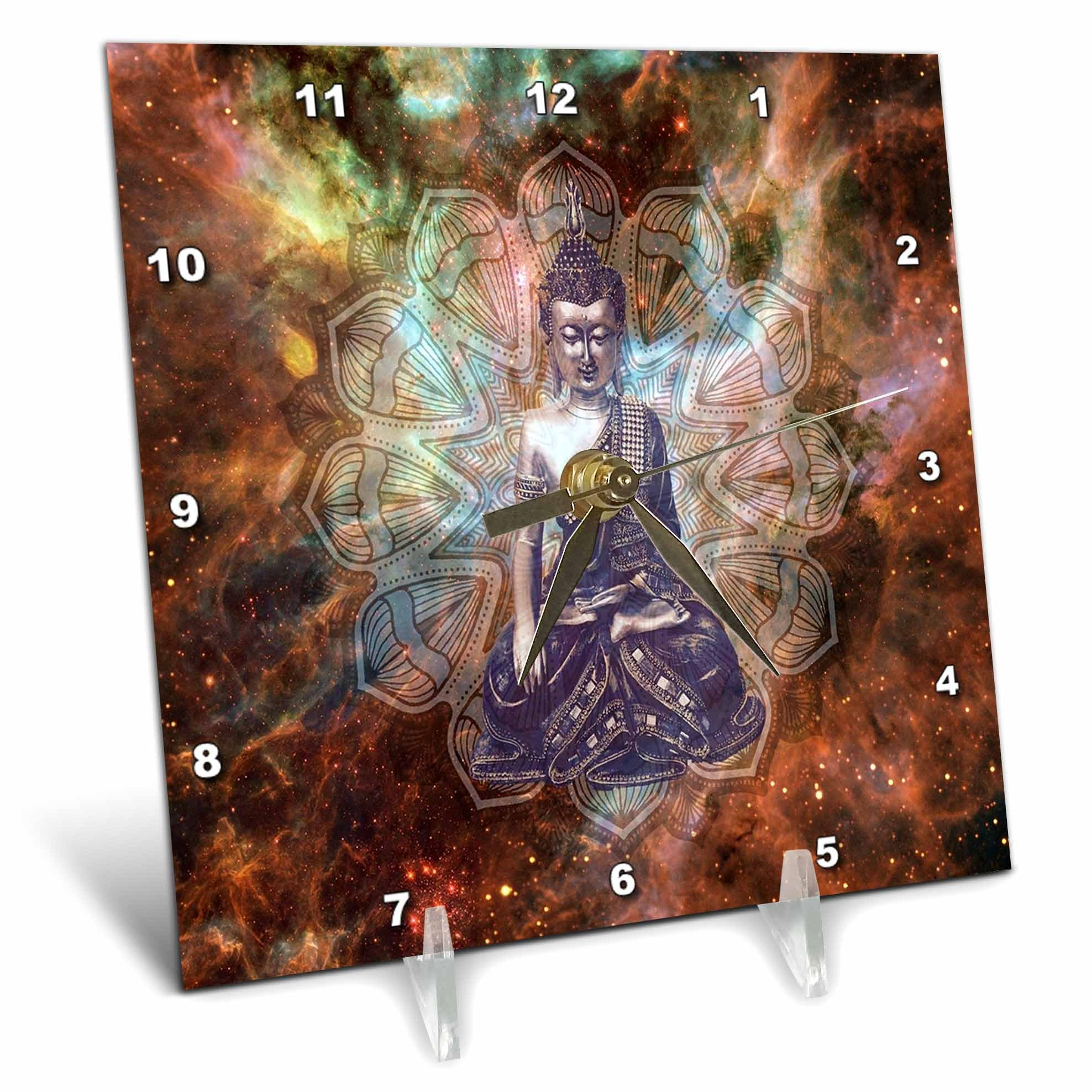 3dRose Religion - Image of Buddha From India Against Colorful Galaxy - 6x6 Desk Clock (dc_279886_1)