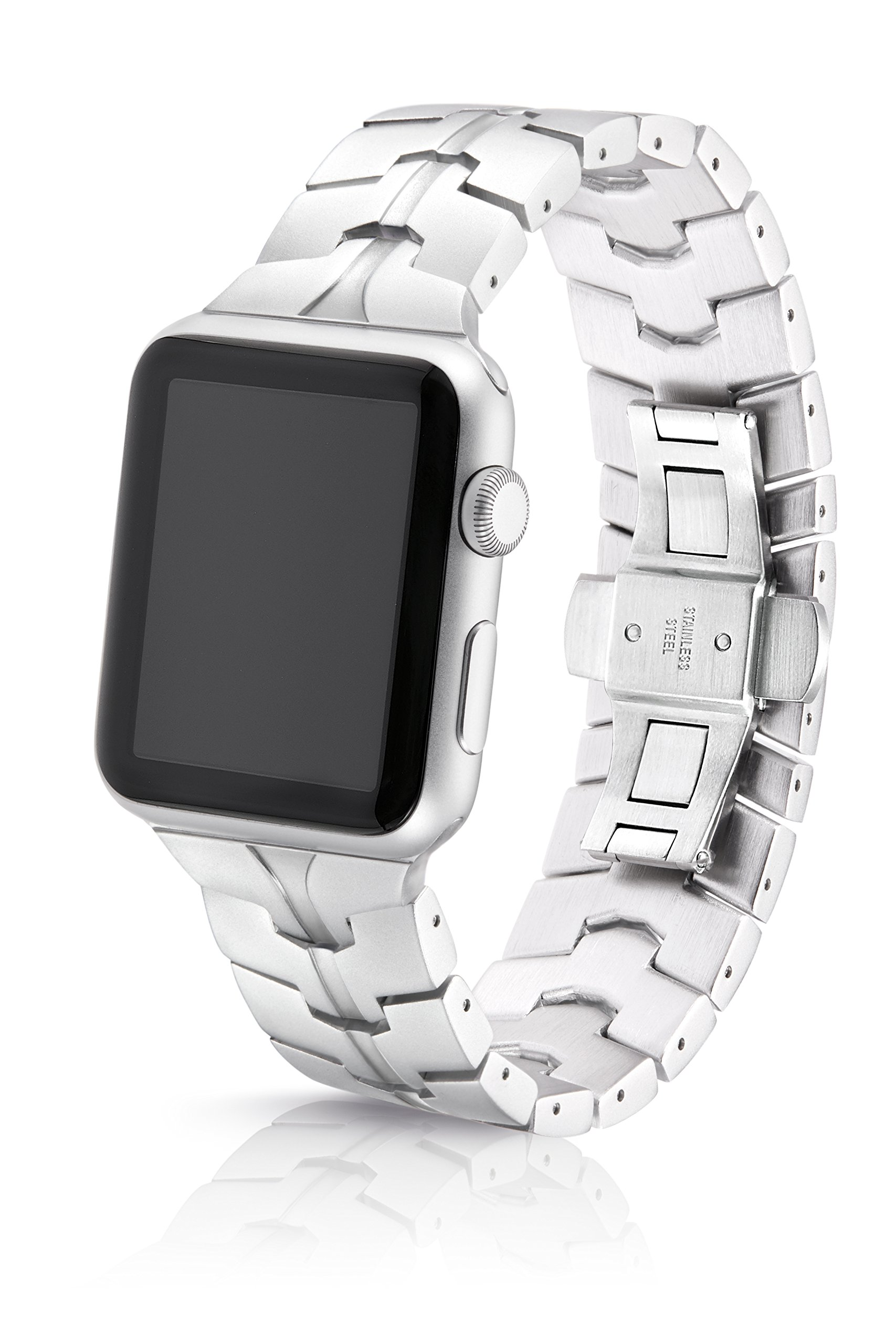 42/44mm JUUK Silver Vitero Premium Watch Band Made for The Apple Watch, Using Aircraft Grade, Hard Anodized 6000 Series Aluminum with a Solid Stainless Steel Butterfly deployant Buckle (Matte)
