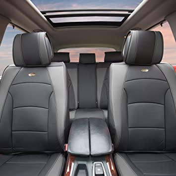 Airbag Compatible FH Group PU205GRAYBLACK102 Gray//Black Ultra Comfort Leatherette Front Seat Cushion