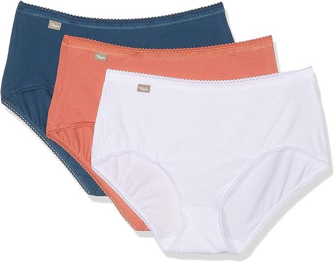 Playtex 00BP, Bragas para Mujer, Multicolor (Blanc/Marine Foncé/Orange 0ae), 42, Pack de 3: Amazon.es: Ropa y accesorios