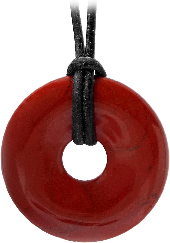 Kaltner PräsenteCollar de piel para hombre y mujer, con colgante de donut en piedra jaspe, color rojo, 30 mm de diámetro