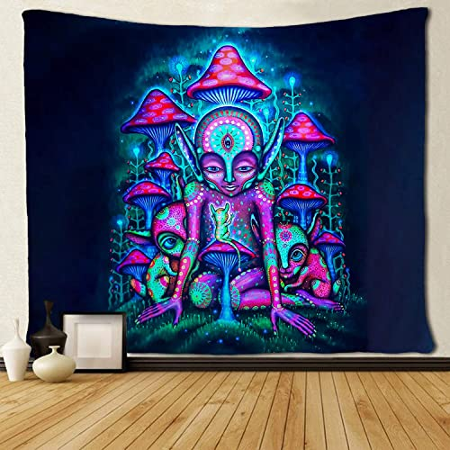 SARA NELL Magical Trippy Psychedelic Tapestry Alien and Mushroom Blue Pink Colorful Tapestries Wall Hanging Hippie Art 60×90 Inches Home Decoration Dorm Decor for Living Room Bedroom