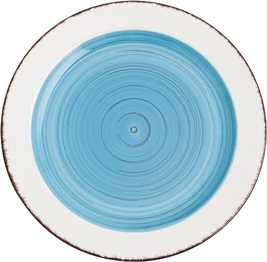 La Bouchée Vajilla 18piezas Aqaba Azul, Loza, Blanco, 23.42 cm, 18 ...