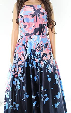 086afdb1015 Betsy   Adam Pink Floral Print Women s Gown Dress Blue 6 at Amazon ...