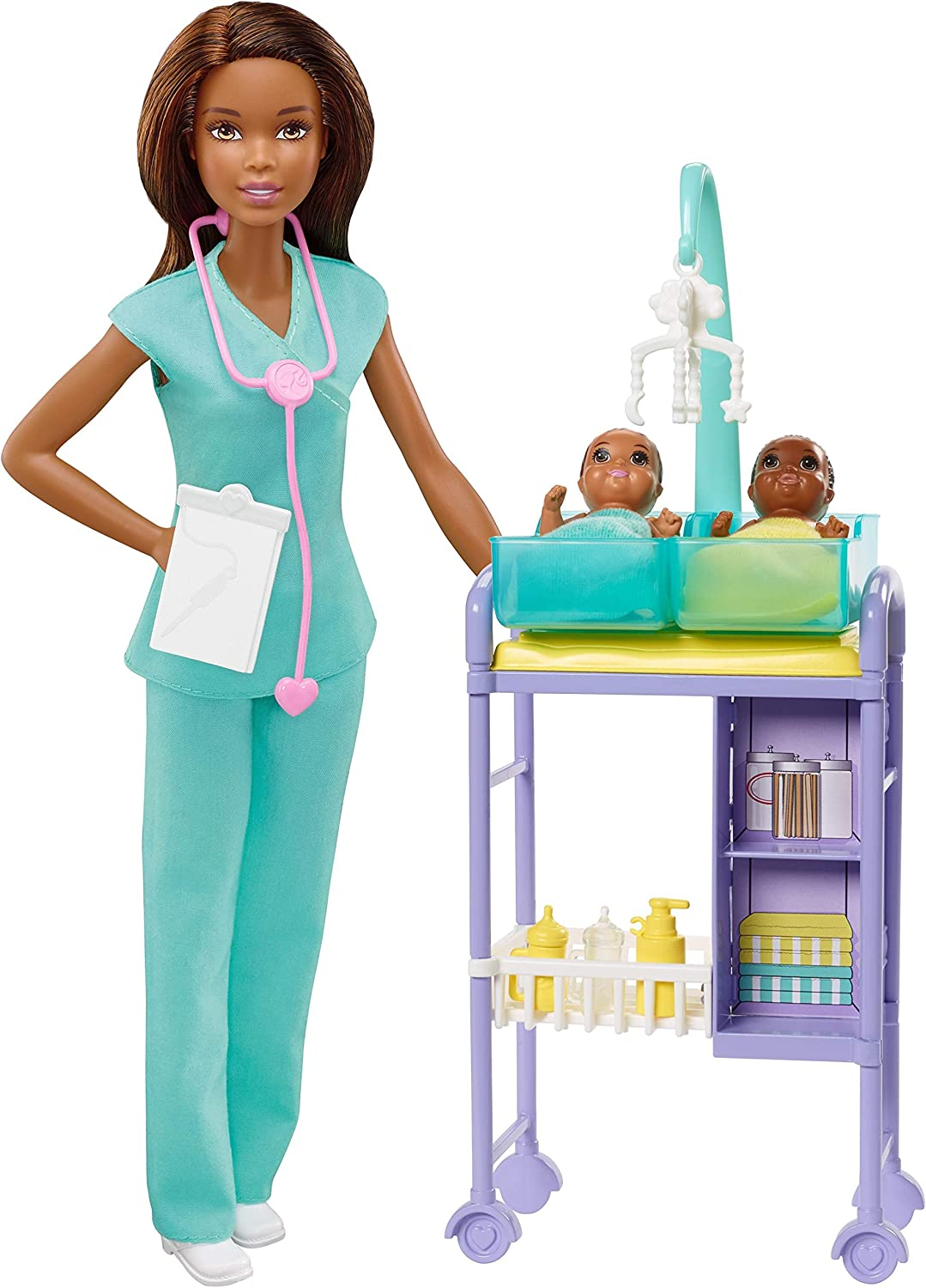 ​Barbie Baby Doctor Playset with Brunette Doll, 2 Infant Dolls, Exam Table and Accessories
