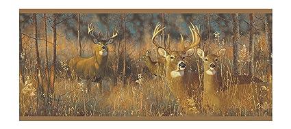York Wallcoverings Lake Forest Lodge WG0346BD White Tail Deer Border Browns