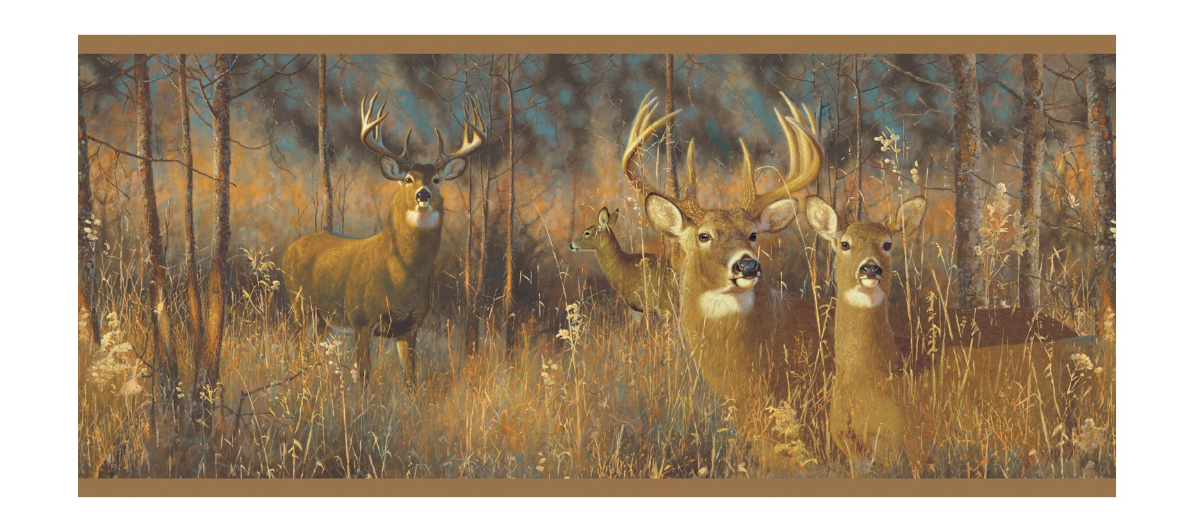 York Wallcoverings Lake Forest Lodge WG0346BD White Tail Deer Border, Browns