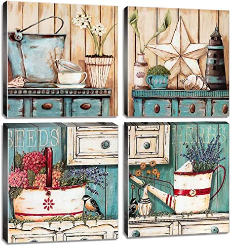 Amazon Com Rustic Farmhouse Wall Art Bathroom Wall Decor Canvas Print 12x12 Inch 4pcs Yard Art Retro Country Style Blue Teal Ocean Colors Watercolor Painting Flowers Picture Kitchen Living Room Home Decoration Posters