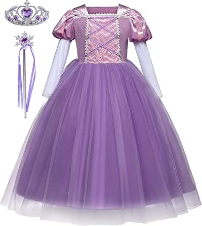 DJSJ- Rapunzel púrpura Poliéster Tul Vestido Niña niños Falda Tutú ...
