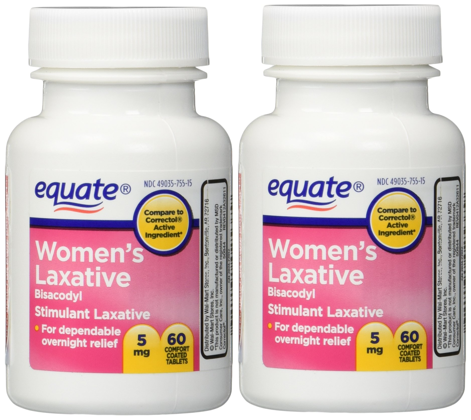 Women's Laxative Tablets, Bisacodyl 5mg 120ct (Two 60ct bottles) by Equate Compare to Correctol by Equate