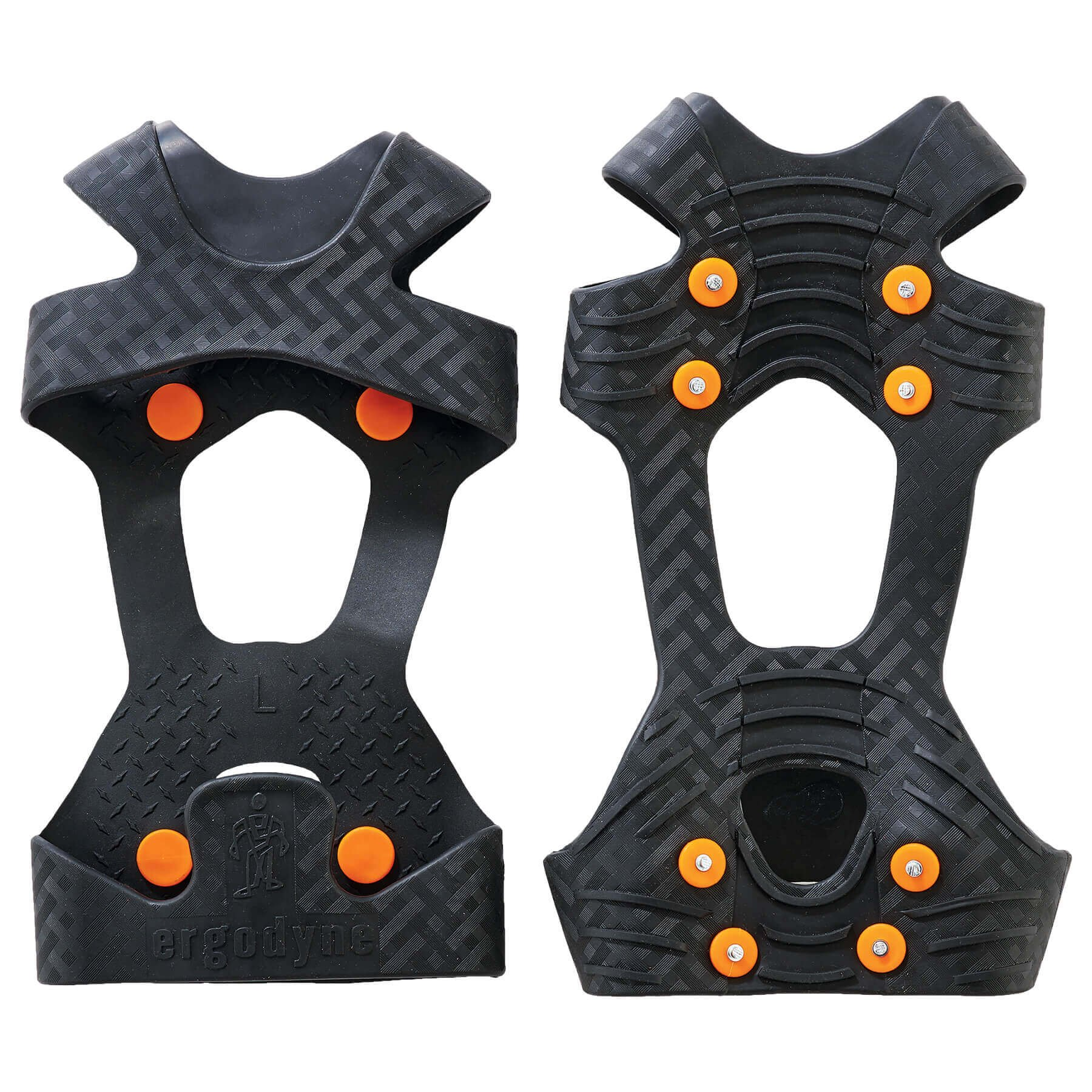 Ergodyne TREX 6300 Traction Cleat Grips Ice and Snow, One-Piece Easily Attaches Over Shoe/Boot with Carbon Steel Spikes to Provide Anti-Slip Solution, Large