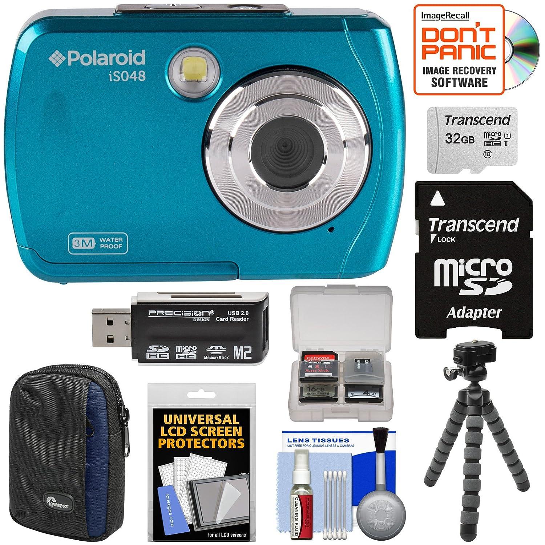 Polaroid is048防水デジタルカメラ(Teal) with 32 GBカード+ケース+三脚+クリーニングキット   B077THJ843