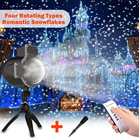 snowfall led light projector wireless remote rotating snowflakes landscape outdoor led projector lights bulb for - Led Projector Christmas Lights