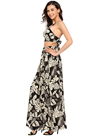 18f11333bae4db Finejo Women's Floral Print Two Piece Crop Top Maxi Skirt Party Long Beach Maxi  Dress