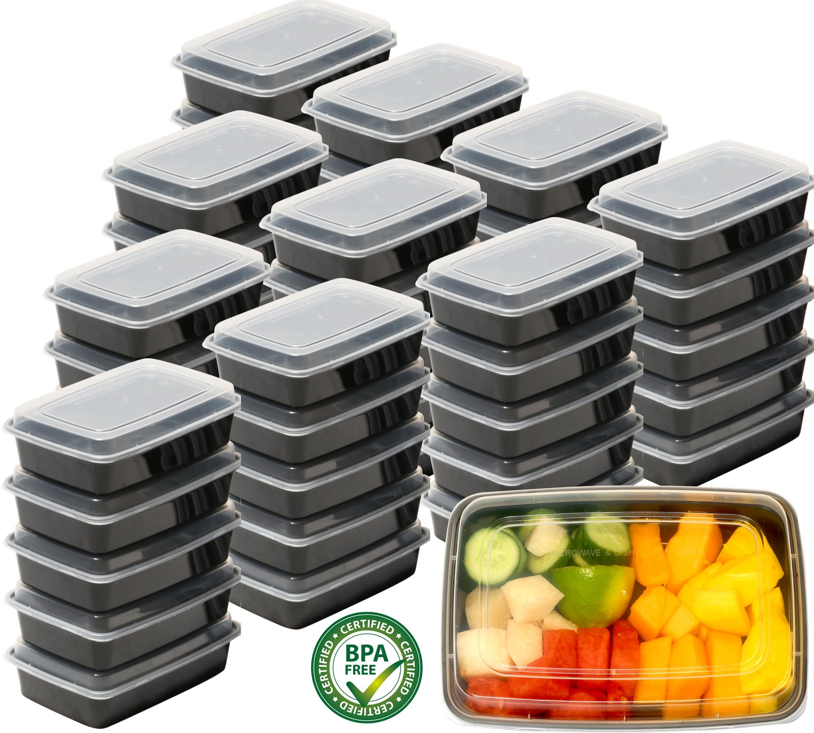 50 Pack - SimpleHouseware 1 Compartment Reusable Food Grade Meal Prep Storage Container Lunch Boxes, 28 Ounces
