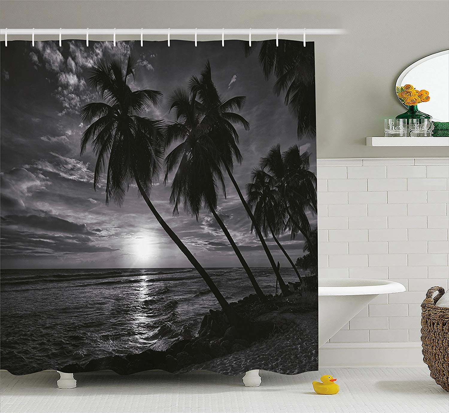 Afagahahs Tropical Shower Curtain Coconut Palm Trees on Beach Bend by The Wind Horizon Over The Sea Picture Fabric Bathroom Decor with Hooks Black and White