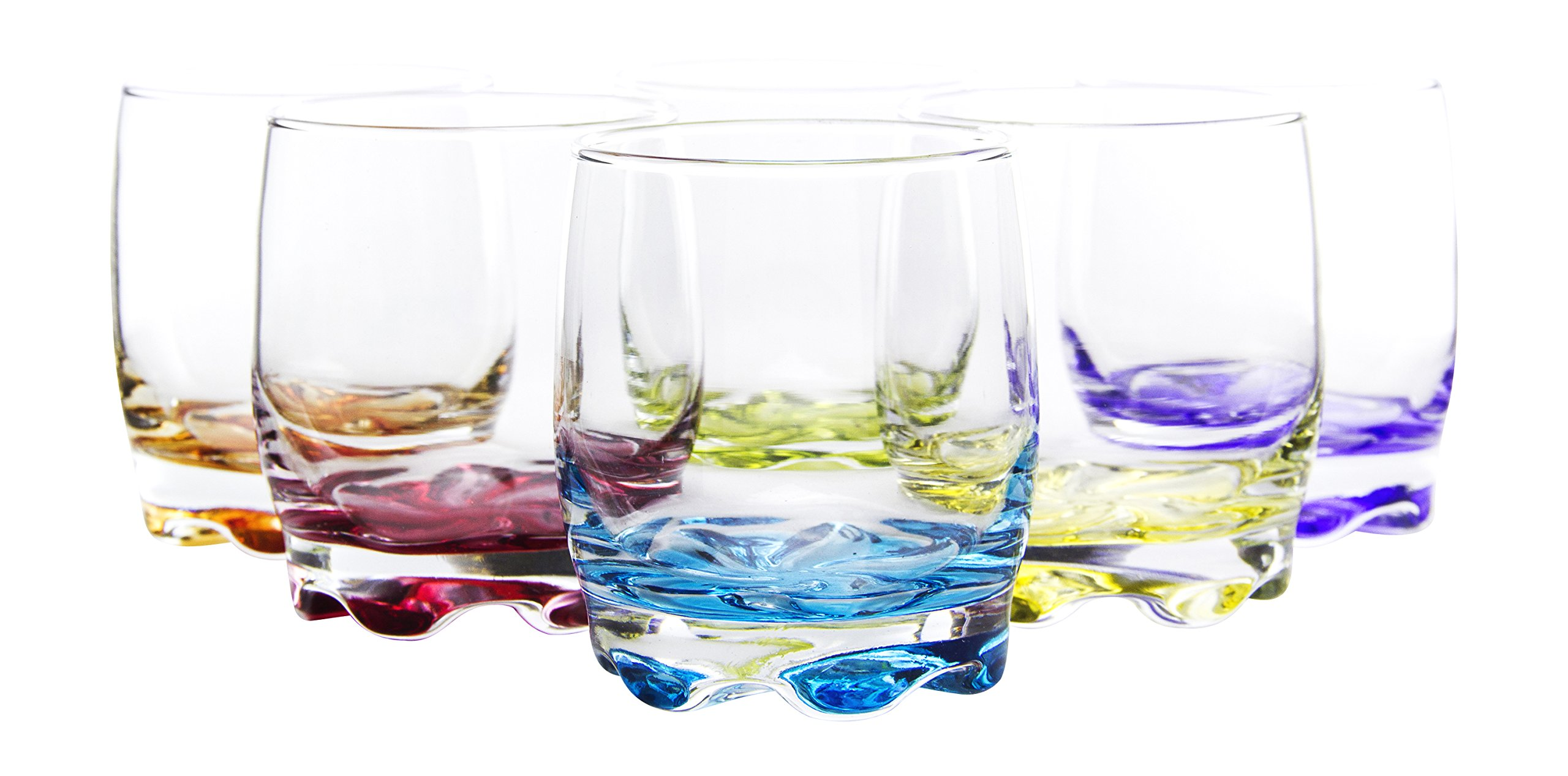 Vibrant Splash Water/Beverage Glasses, 9.75 Ounce, Set of 6, 3.5 Inches Each