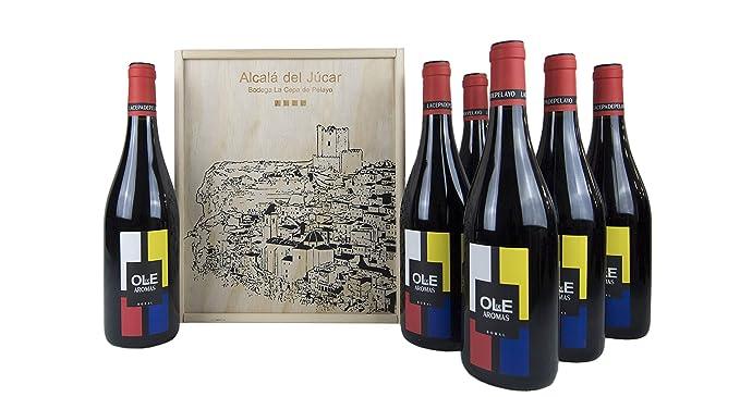 Estuche madera 6 botellas OLE DE AROMAS Vino tinto joven ...