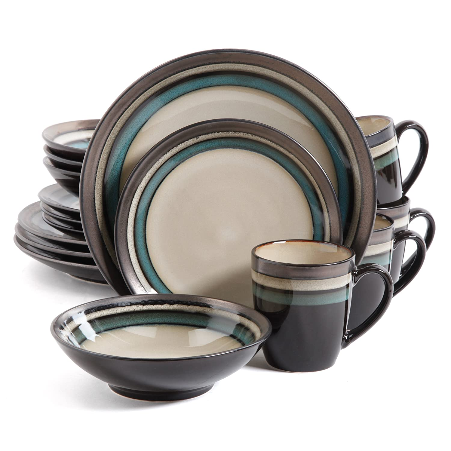 Amazon.com Gibson Lewisville 16 Piece Dinnerware Cream with Teal Reactive Metallic Rim Cream/Teal Kitchen \u0026 Dining  sc 1 st  Amazon.com : best casual dinnerware sets - pezcame.com