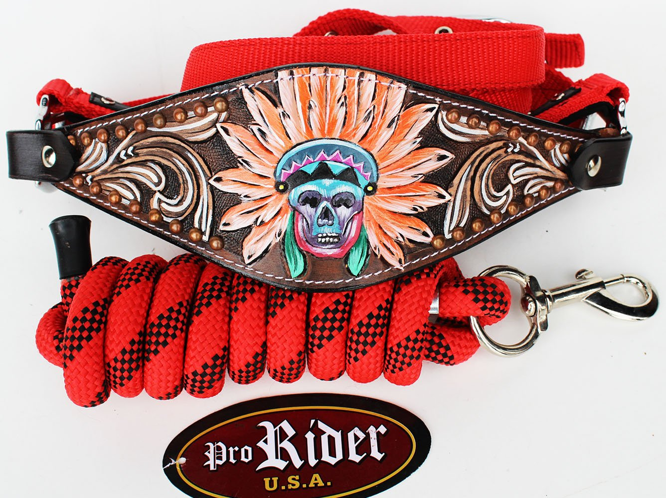 PRORIDER Horse Noseband Tack Bronc Leather Halter Tiedown Lead Rope Red Rodeo 280M8852