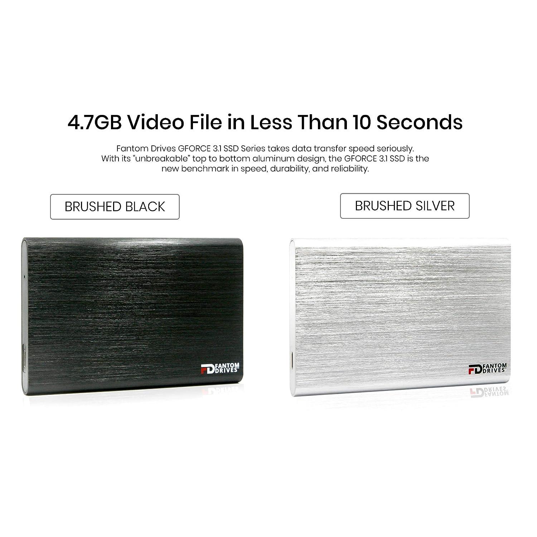 Fantom Drives External SSD 240GB USB 3.1 Gen 2 Type-C 10Gb//s Mac GFORCE 3.1 Portable SSD Series Silver